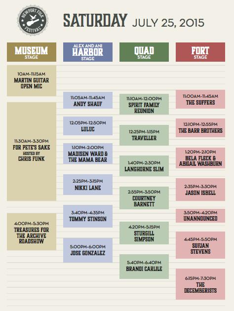 Newport Folk Festival Schedule & Lineup