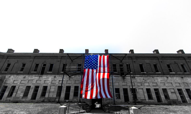 This flag is flown at the Fort, every Newport Folk Festival