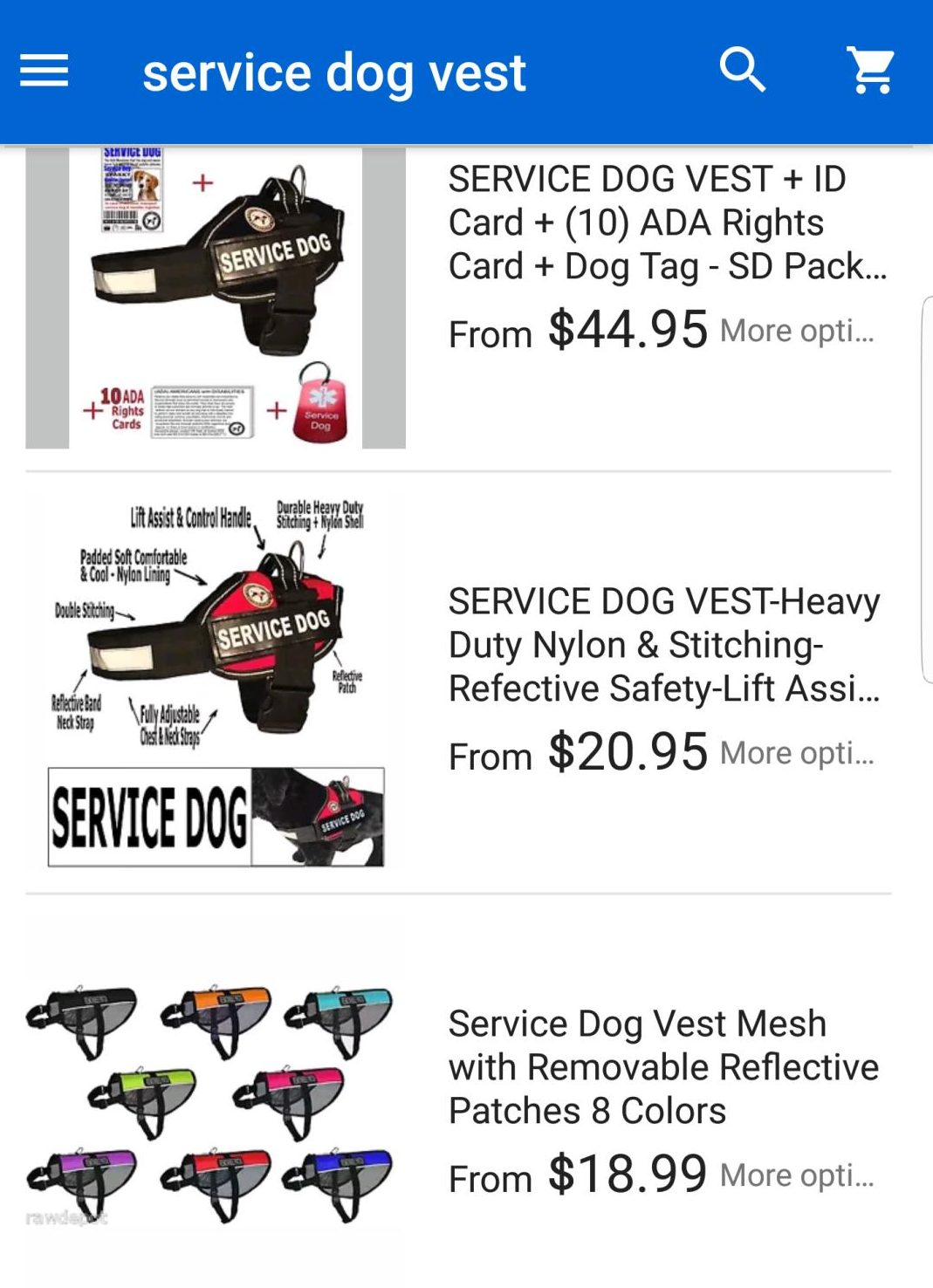 Resident seeks to educate public about service dogs whatsupnewp examples of generic service dog vests being sold online 1betcityfo Images