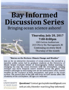 "Bay Informed Discussion Series- ""Storms on the Horizon: Climate Change and Weather"" @ Corless Auditorium, URI Bay Campus 