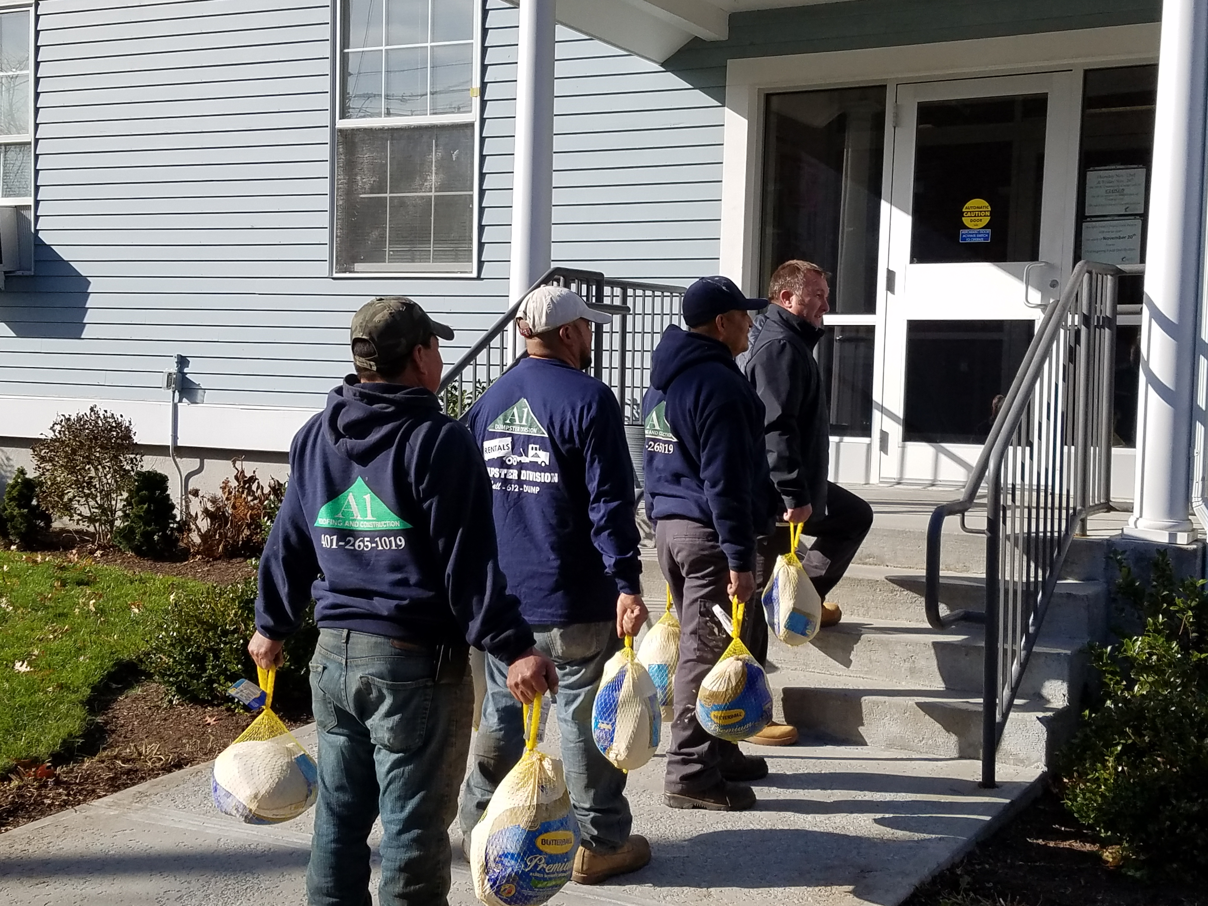A1 Roofing & Construction donates Thanksgiving Day turkeys to the Dr