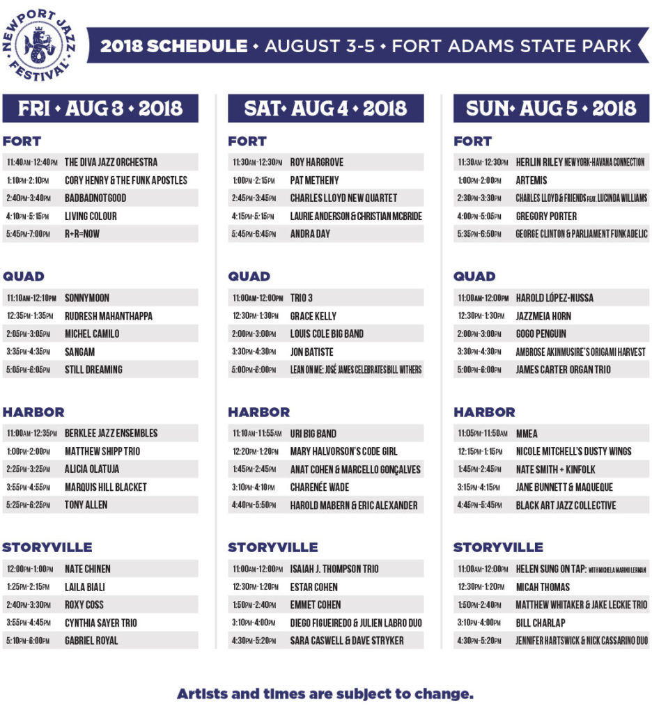 2018 Newport Jazz Festival lineup and schedule | What'sUpNewp